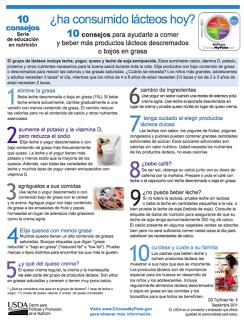 10 CONSEJOS PARA AYUDARLE A COMER Y BEBER MÁS PRODUCTOS LÁCTEOS DESCREMADOS O BAJOS EN GRASA