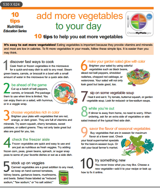 10 Tips to help you eat more vegetables inorder to have a healthy life and loose weight?